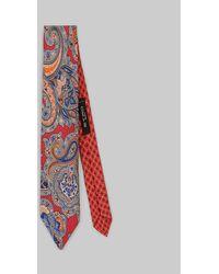 Etro Cravate Deux Tissus Paisley Fleuri - Rouge