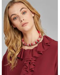Etro Cord And Metal Collar Necklace - Red