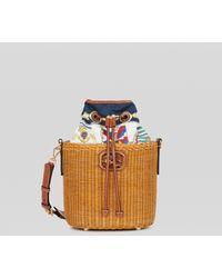 Etro Woven Wicker Bucket Bag - White
