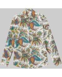 Etro Baumwollhemd Mit Paisley-print - Mettallic