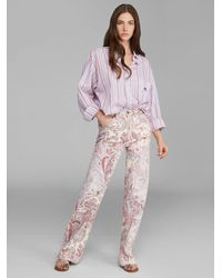 Etro Flared Jeans With Floral Paisley Print - Pink