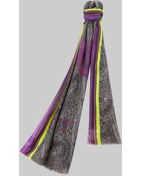 Etro Paisley And Pegaso Print Scarf - Black