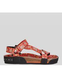 Etro Flache Paisley Sandalen Mit Floralen Motiven - Rot