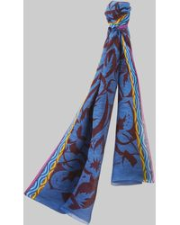 Etro Sciarpa Con Stampa Floreale Hawaii - Blu
