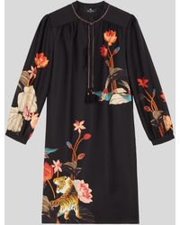 Etro Tiger And Water Lily Design Silk Dress - Black