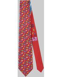 Etro Corbata Con Estampado Mono - Rojo