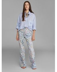 Etro Flared Jeans With Floral Paisley Print - Blue