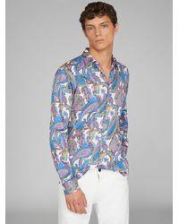 Etro Camicia Con Stampa Paisley - Blu