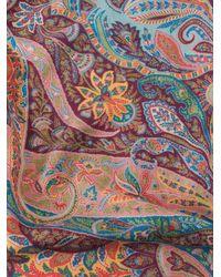 Etro Fular De Cachemira Y Seda Paisley Floral - Azul