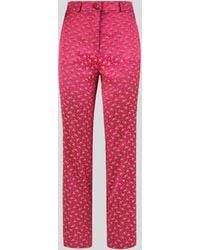 Etro Pantalon Sartorial Jacquard Fleuri - Rouge