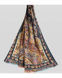 Etro Fular De Cachemira Y Seda Paisley Floral - Negro