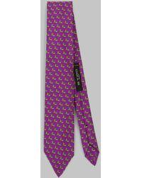 Etro Cravatta Con Stampa Micro Pegaso - Viola