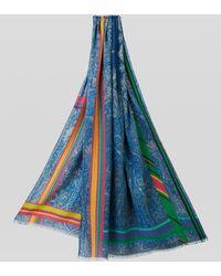 Etro Fular Paisley De Seda Y Cachemira - Azul