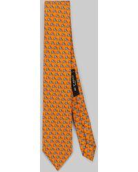 Etro Cravatta Con Stampa Micro Pegaso - Arancione
