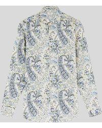 Etro Camisa De Algodón Paisley - Metálico