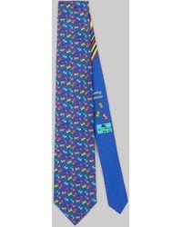 Etro Corbata Con Estampado Mono - Azul