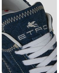 Etro Sneakers Paisley Avec Semelle Vulcanisée - Bleu