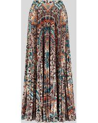 Etro Floral Paisley Print Pleated Skirt - Metallic