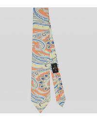 Etro Corbata De Seda Con Estampado Paisley - Naranja