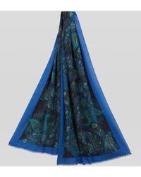 Etro Fular Paisley Floral De Seda Y Cachemira - Azul