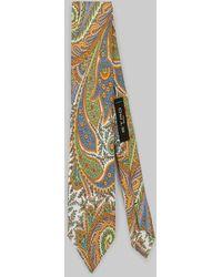 Etro Corbata De Seda Estampado Paisley Floral - Naranja