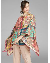 Etro Poncho Con Estampado Patchwork - Multicolor