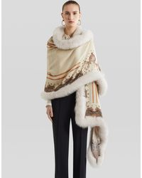 Etro Shawl With Fur Border - Natural