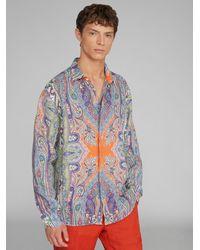 Etro Camisa De Lino Con Estampado Paisley - Multicolor