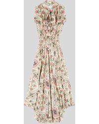 Etro Vestido De Raso Paisley Floral Con Ruches - Blanco