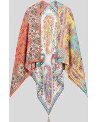 Etro Cape En Soie Paisley Fleuri - Multicolore