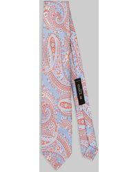 Etro Cravate En Soie Motifs Paisley - Bleu