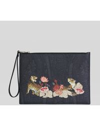 Etro Tiger And Water Lily Ipad Holder - Black