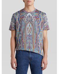 Etro Camiseta De Algodón Con Motivos Paisley - Azul