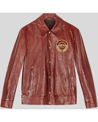 Etro Leather Jacket With Patch - Multicolour