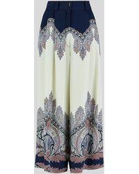 Etro Pantalones Culotte Con Motivo Paisley Floral - Azul