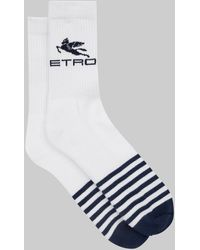 Etro Calcetines con detalle de rayas y logo - Blanco