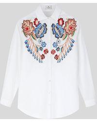 Etro Chemise En Coton À Fleurs Brodées - Blanc