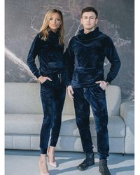 Etsy Survêtement Pour s En Velours Bleu Matching Deux Pièces Ensemble De Sweat À Capuche Avec Poche Avant Et Pantalon Plus Co... - Blanc