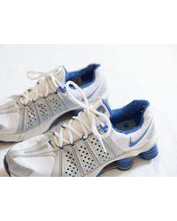 Etsy Rare Vintage Nike Shox Baskets/Chaussures De Course Pour s Bleu Blanc Argent Gros Sneaker Hipste - Métallisé