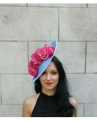 Etsy Large Light Blue Hot Pink Mint Green Rose Floral Flower Fascinator Hat Hair 7326