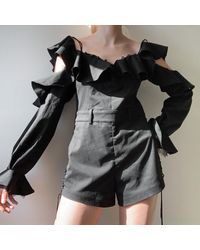 Etsy Miss Sixty Early 2000 Jumper Romper Playsuit Black Outfit Summer Style Ruffles Frilly - Green