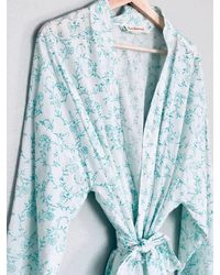 Etsy White & Teal Delicate Floral Cotton Hand Block Printed