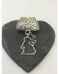 Etsy Rabbit Scarf Bail/animal Ring Jewellery Pendant Rabbit Gift - Purple