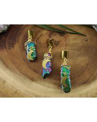 Etsy Rainbow Titanium Quartz Ear Cuff/moon Crystal Hair Accessory Dreadloc Jewelry Loc - Green