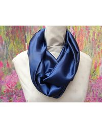 Etsy Infinity Or Long Satin Navy Blue Scarf 57 Inches