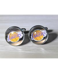 Etsy Los Angeles Lakers Cufflinks Made From Recycled Basketball Cards - Black