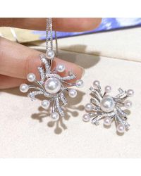 Etsy 0.31ct Diamond, Aaaa 3.5-7.5 Mm Akoya Pearl Pendant Brooch 18k White Gold