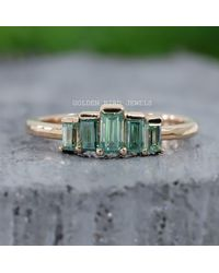 Etsy Diamond Wedding Bands/5 Baguette Green Moissanite Band 14 Kt Rose Gold For Unique Ring Gift Her