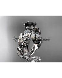 Etsy - Lower Engagement Ring Platinum Leaf & Vine Tulip Wedding Black Diamond Vd10050 - Lyst