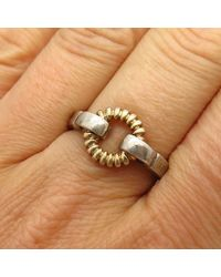 Etsy 925 Sterling Silver 2-tone Open Circle Design Ring Size 8 3/4 - Metallic